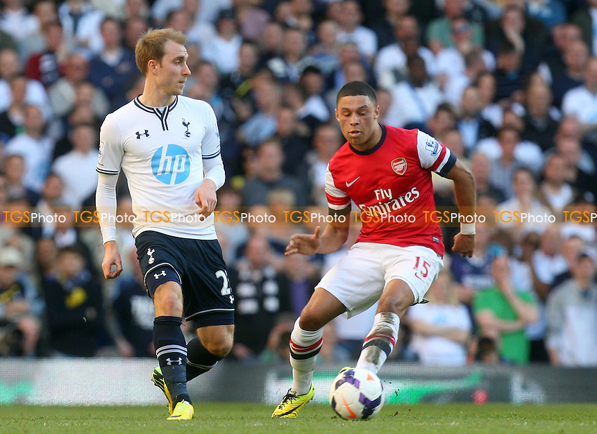 Christian Eriksen of Tottenham Hotspur and Alex Oxlade-Chamberlain of Arsenal - Tottenham Hotspur vs Arsenal, Barclays Premier League Football at the White Hart Lane Stadium - 16/03/14 - MANDATORY CREDIT: Dave Simpson/TGSPHOTO - Self billing applies where appropriate - 0845 094 6026 - contact@tgsphoto.co.uk - NO UNPAID USE