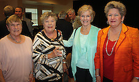 NWA Democrat-Gazette/CARIN SCHOPPMEYER Linda Pinneo (from left), Patricia Harrison, Sherlyn(cq) and Jane Gearhart, Washington Regional Foundation president, visit at the Legacy, Leadership and Loyalty reception.