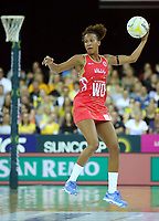 02.08.2017 England's Serena Guthrie in action during a netball match between Australia and England at the Brisbane Entertainment Centre in Brisbane Australia. Mandatory Photo Credit ©Michael Bradley.