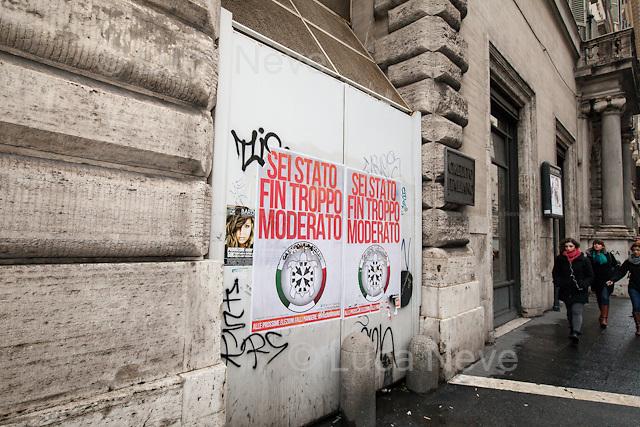 Rome, 25/02/2013. Reportage covering the second day of the Italian General Election, including the campaign HQ's of the Rivoluzione Civile - Antonio Ingroia, the PDL (Popolo della Libertá) - Silvio Berlusconi, and the Scelta Civile - Mario Monti.