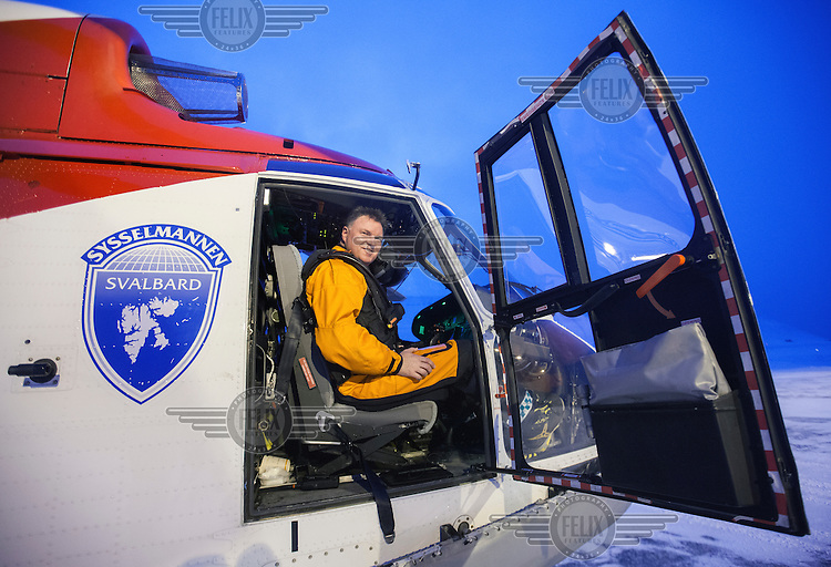 Rescue paramedic Mari Martinsen working with operator Lufttransport for the Govenor of Svalbard (Sysselmannen). Using two AS332 L1 Super Puma helikopters they are tasked with Search and Rescue (SAR) and supporting the Governors office overseeing the Svalbard area. <br /> <br /> <br /> (photo: Fredrik Naumann/Felix Features)