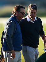 Andy Garcia (L) walks off the 18th green with Hugh Grant during Round 1 of the 2015 Alfred Dunhill Links Championship at the Old Course, St Andrews, in Fife, Scotland on 1/10/15.<br /> Picture: Richard Martin-Roberts | Golffile