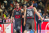 9th February 2018, Aleksandar Nikolic Hall, Belgrade, Serbia; Euroleague Basketball, Crvenz Zvezda mts Belgrade versus AX Armani Exchange Olimpia Milan; Guard Andrea Cinciarini of AX Armani Exchange Olimpia Milan gives the change at Guard Jordan Theodore of AX Armani Exchange Olimpia Milan