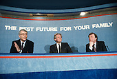 Prime Minister John Major, Michael Heseltine and Kenneth Clarke at a Conservative Party pre-election press conference at the party HQ in Smith Square, London.