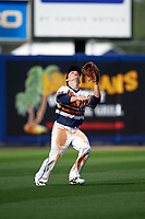 Canisius College Golden Griffins left fielder Tim Kensinger (10) catches a fly ball during the second game of a doubleheader against the Michigan Wolverines on February 20, 2016 at Tradition Field in St. Lucie, Florida.  Michigan defeated Canisius 3-0.  (Mike Janes/Four Seam Images)