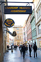 Absinthe and Tobacco shop sign, Prague, Czech Republic on February 28th to March 3rd 2018<br /> CAP/ROS<br /> &copy;ROS/Capital Pictures