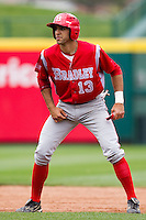 Jason Leblebijian (13) of the Bradley Braves takes a lead off second base during a game against the Missouri State Bears on May 13, 2011 at Hammons Field in Springfield, Missouri.  Photo By David Welker/Four Seam Images