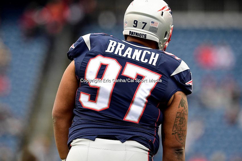 Sunday, October 2, 2016: New England Patriots defensive tackle Ala n Branch (97) prepares for the NFL game between the Buffalo Bills and the New England Patriots held at Gillette Stadium in Foxborough Massachusetts. Buffalo defeats New England 16-0. Eric Canha/Cal Sport Media