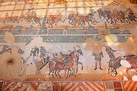 wide view of chariots racing at the Circus Maximus Chariot racing at the Circus Maximus from the Palaestra room no 15.. Roman mosaics at the Villa Romana del Casale which containis the richest, largest and most complex collection of Roman mosaics in the world. Constructed  in the first quarter of the 4th century AD. Sicily, Italy. A UNESCO World Heritage Site.