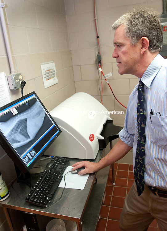 MIDDLEBURY CT. 08 July 2010-070810SV03--Dr. Koen Loeven looks at a digital x-ray in the x-ray room at the Middlebury Animal Hospital in Middlebury Thursday. The hospital has switched to solar panels, but are also using a new x-ray machine that takes less processing time and is more eco-friendly.<br /> Steven Valenti Republican-American