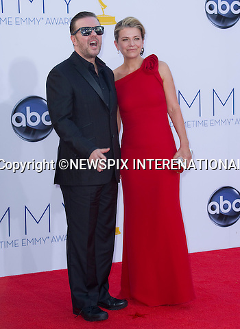 """RICKY GERVAIS AND JANE FALLON - 64TH PRIME TIME EMMY AWARDS.Nokia Theatre Live, Los Angelees_23/09/2012.Mandatory Credit Photo: ©Dias/NEWSPIX INTERNATIONAL..**ALL FEES PAYABLE TO: """"NEWSPIX INTERNATIONAL""""**..IMMEDIATE CONFIRMATION OF USAGE REQUIRED:.Newspix International, 31 Chinnery Hill, Bishop's Stortford, ENGLAND CM23 3PS.Tel:+441279 324672  ; Fax: +441279656877.Mobile:  07775681153.e-mail: info@newspixinternational.co.uk"""