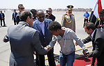A handout photo made available by the Egyptian Presidency shows Egyptian President Abdel Fattah al-Sisi (L) receiving Ethiopian nationals who were kidnapped in Libya and freed, upon arriving at airport in Cairo,  07 May 2015. According to reports, 27 Ethiopians arrived in Egypt after they were freed from their kidnappers in Libya. The Islamic State militia in Libya released on 20 April a video showing the execution of two groups of Ethiopian Christians in Libya. The militia previously executed a group of Egyptian Coptic Christians on the Libyan beaches. The group has made inroads in the lawless state, where the central government has lost control over most of the country. Photo by Egyptian Presidency