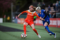Seattle, WA - Saturday April 22, 2017: Janine Beckie and Megan Rapinoe  during a regular season National Women's Soccer League (NWSL) match between the Seattle Reign FC and the Houston Dash at Memorial Stadium.