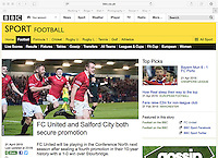 Match action image used in a match report of FC United of Manchester v Stourbridge FC on 'BBC Sport website', 21/04/15. Original article at http://bbc.in/1aRm60O