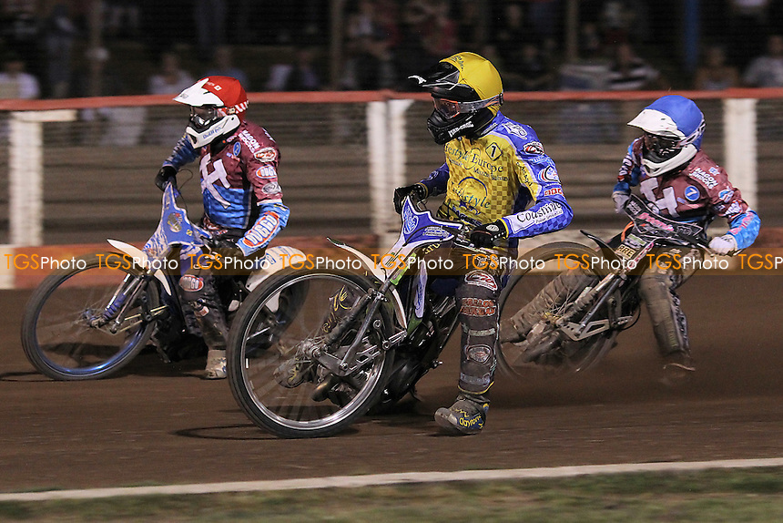 Heat 8: Timo Lahti (yellow), Kauko Nieminen (red) and Rob Mear - Lakeside Hammers vs Eastbourne Eagles - Sky Sports Elite League Speedway at Arena Essex Raceway, Purfleet - 17/08/12 - MANDATORY CREDIT: Gavin Ellis/TGSPHOTO - Self billing applies where appropriate - 0845 094 6026 - contact@tgsphoto.co.uk - NO UNPAID USE.