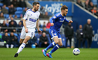 Craig Noone of Cardiff City is closely marked by Cole Skuse of Ipswich Town during the Sky Bet Championship match between Cardiff City and Ipswich Town at The Cardiff City Stadium, Cardiff, Wales, UK. Saturday 18 March 2017