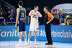 Real Madrid Jaycee Carroll talking with referee and Herbalife Gran Canaria Oriol Pauli during Turkish Airlines Euroleague match between Real Madrid and Herbalife Gran Canaria at WiZink Center in Madrid, 20 November 2018. (ALTERPHOTOS/Borja B.Hojas)