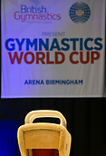 21st March 2018, Arena Birmingham, Birmingham, England; Gymnastics World Cup, day one, mens competition; view of the Pommel Horse with world cup banner hanging