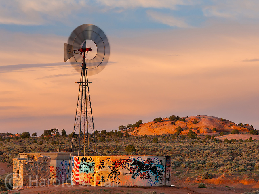 A Navajo windmill has been decorated by the Navajos with traditional and contemporary designs.