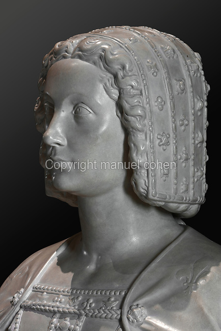 Bust of Claude de France, 1499-1524, wife of Francois I, in plaster, after the funerary statue by Francois Carmoy on her tomb at Saint Denis, by Francois Marchand, 1500-51, and Pierre Bontemps, 1507-68, in the Garde-robe de la Reine, or Queen's Dressing Room, in the Francois I wing, built early 16th century in Italian Renaissance style, at the Chateau Royal de Blois, built 13th - 17th century in Blois in the Loire Valley, Loir-et-Cher, Centre, France. The chateau has 564 rooms and 75 staircases and is listed as a historic monument and UNESCO World Heritage Site. Picture by Manuel Cohen