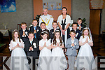 Pupils from Ballyduff Central NS who made their First Holy Communion in St Peter & Pauls Church Ballyduff on Saturday, Killian Lucid Boyle,Steafán Carrig,Cathal Enright,Aoibhe Keane -Frizelle,Lauren Murphy, Cillian Murphy, Éabha O'Connor,Ryan Lucid O'Rourke,Serena O'Sullivan,Maurice Ross,Rory Whelan and Dean Whyte, with their teacher Ms Maura Enright and their Parish Priest Fr Brendan Walsh.