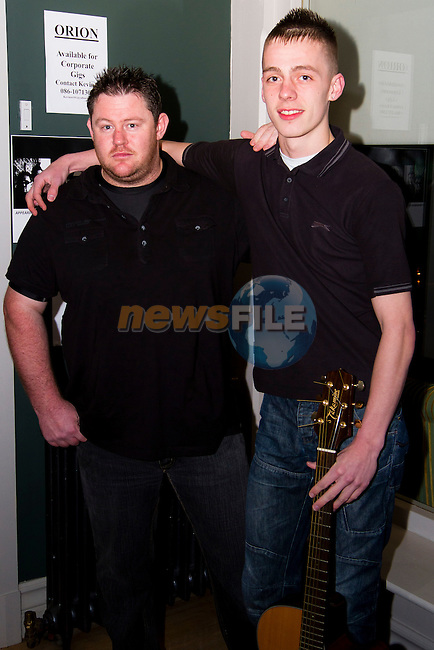 """(Shane Personal Event).Kevin O Sullivan and Karl Pentony (Collectively """"Orion"""") at the Fashion Show in the Westcourt, the aim of which was to raise funds to purchase a bus for Drumcar Special School..Picture: Shane Maguire / www.newsfile.ie."""
