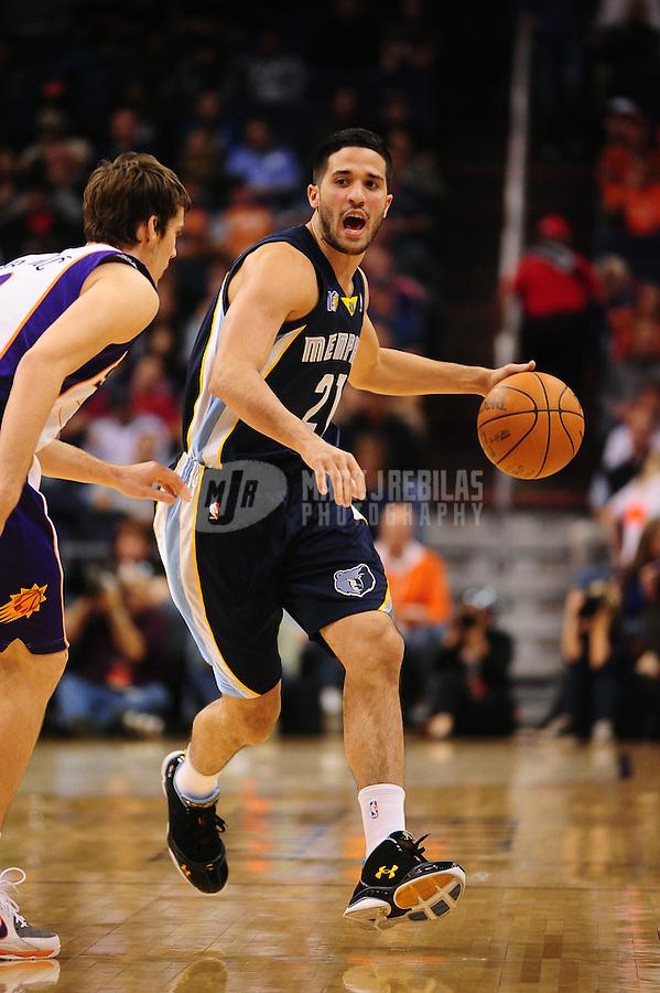 Dec. 8, 2010; Phoenix, AZ, USA; Memphis Grizzlies guard (21) Greivis Vasquez against the Phoenix Suns at the US Airways Center. Memphis defeated Phoenix 104-98 in overtime. Mandatory Credit: Mark J. Rebilas-