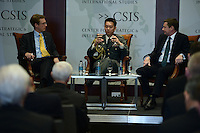 Washington, DC - March 31, 2016: Colonel Masahi Yamamoto (c), military ataché, Embassy of Japan, speaks during a panel discussion with Andrew Shearer (r), former Australian National Security Advisor, on working with allies and amphibious partners. The discussion was held at the Center for Strategic and International Studies in the District of Columbia, March 31, 2016.  (Photo by Don Baxter/Media Images International)