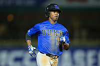 Kennie Taylor (15) of the Duke Blue Devils hustles towards third base against the Clemson Tigers in Game Three of the 2017 ACC Baseball Championship at Louisville Slugger Field on May 23, 2017 in Louisville, Kentucky.  The Blue Devils defeated the Tigers 6-3.. (Brian Westerholt/Four Seam Images)