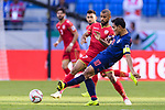 Teerasil Dangda of Thailand (R) fights for the ball with Abdulwahab Ali Alsafi of Bahrain (L) during the AFC Asian Cup UAE 2019 Group A match between Bahrain (BHR) and Thailand (THA) at Al Maktoum Stadium on 10 January 2019 in Dubai, United Arab Emirates. Photo by Marcio Rodrigo Machado / Power Sport Images