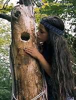 FK05-001z  Common Flicker - girl looking in nest hole in dead tree - Colaptes auratus