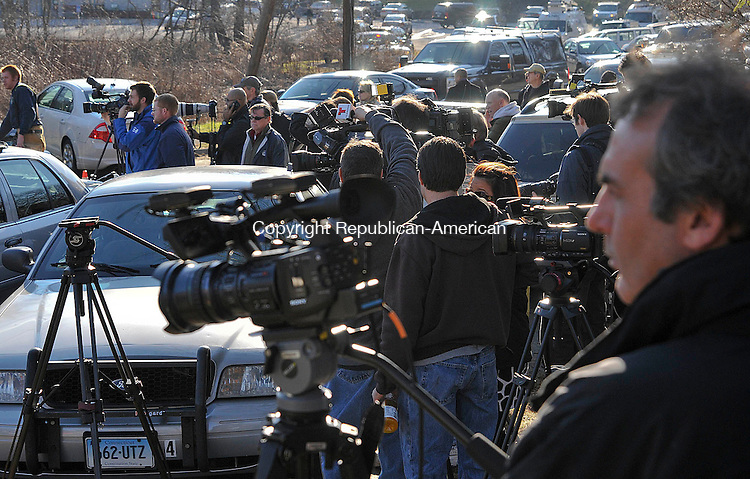 NEWTOWN, CT 14 DECEMBER- 121412JS22- Hundreds of media from all over the east coast descended to Newtown to cover the deadly shooting at Sandy Hook Elementary School in the Sandy Hook section in Newtown. 27 people, including 20 children, were killed inside the school. .Jim Shannon Republican American. .