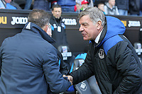 (L-R) Swansea manager Carlos Carvalhal greets Everton manager Sam Allardyce during the Premier League match between Swansea City and Everton at The Liberty Stadium, Swansea, Wales, UK. Saturday 14 April 2018