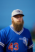 Oklahoma City Dodgers pitcher Kevin Quackenbush (43) during a Pacific Coast League game against the New Orleans Baby Cakes on May 6, 2019 at Shrine on Airline in New Orleans, Louisiana.  New Orleans defeated Oklahoma City 4-0.  (Mike Janes/Four Seam Images)