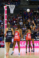 10.02.2017 Silver Ferns Maria Tutaia shoots for goal during the Silver Ferns v England Roses Vitality Netball International Series test match played at the Echo Arena in Liverpool. Mandatory Photo Credit © Paul Greenwood/Michael Bradley Photography.