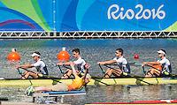 Rio de Janeiro. BRAZIL.   GBR M4X. Bow. Jack BEAUMONT,  Sam TOWNSEND, Angus GROOM and Peter LAMBERT,  2016 Olympic Rowing Regatta. Lagoa Stadium, Copacabana,  &ldquo;Olympic Summer Games&rdquo;Rodrigo de Freitas Lagoon, Lagoa. Local Time 12:53:30   Saturday  06/08/2016 <br /> <br /> [Mandatory Credit; Peter SPURRIER/Intersport Images]