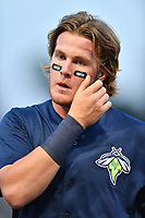 First baseman Dash Winningham (34) of the Columbia Fireflies in a game against the West Virginia Power on Thursday, May 18, 2017, at Spirit Communications Park in Columbia, South Carolina. Columbia won in 10 innings, 3-2. (Tom Priddy/Four Seam Images)