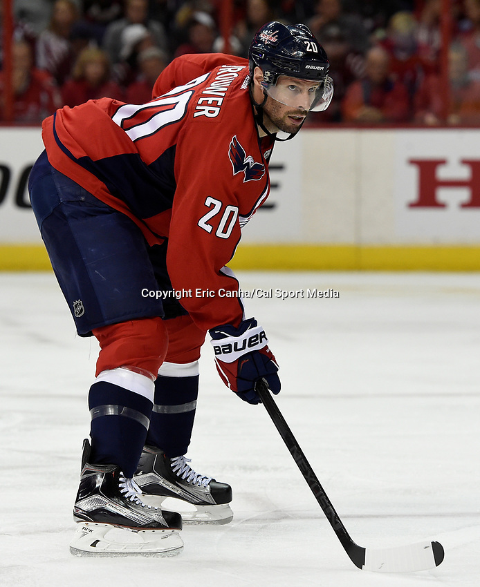 April 23, 2015 - Washington D.C., U.S. - Washington Capitals right wing Troy Brouwer (20) waits for a faceoff during game 5 of the  NHL Eastern Conference Quarter finals between the New York Islanders and the Washington Capitals held at the Verizon Center in Washington DC.  The Capitals defeat the Islanders 5-1 in regulation time to take the lead in the 7 game series 3-2. Eric Canha/CSM