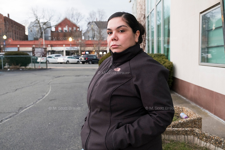 This woman is a naturalized US citizen living in Brockton, Massachusetts, who says members of her family are undocumented immigrants. She is seen here in Brockton, Massachusetts, on Wed., March 29, 2017.