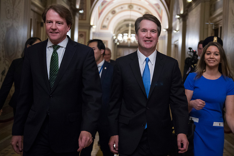 UNITED STATES - JULY 10: Supreme Court nominee Brett Kavanaugh, right, and White House counsel Don McGahn, are seen in the Capitol after meetings with senators on July 10, 2018. (Photo By Tom Williams/CQ Roll Call)