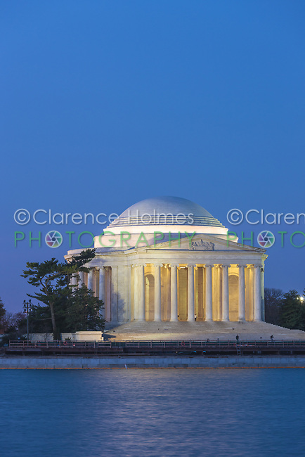 Jefferson Memorial illuminated during twilight prior to sunrise in Washington, DC