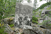 KLGO Photo Station CH-05: Long Hill, August 5, 2014, View north of the Chilkoot Trail on Long Hill one mile north of Sheep Camp, Klondike Gold Rush National Historical Park, Alaska, United States. Photo by Ronald D. Karpilo Jr. The historic photo taken 1897 by Frank La Roche is digitally overlaid on the repeat photo.