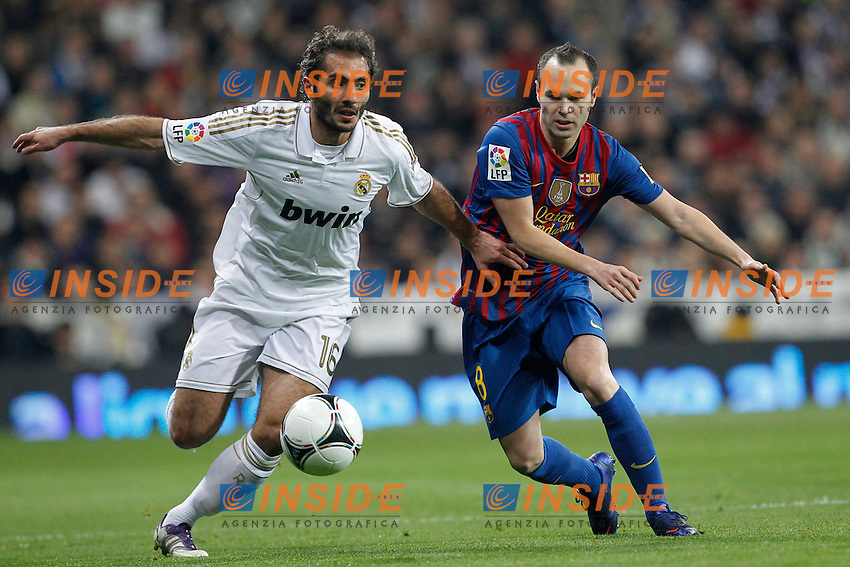 Real Madrid's Hamit Altintop and FC Barcelona's Andres Iniesta  during spanish King's Cup on January 18th 2012...Photo: Insidefoto / Cesar Cebolla / Alterphotos .Real Madrid Vs Barcellona.ITALY ONLY
