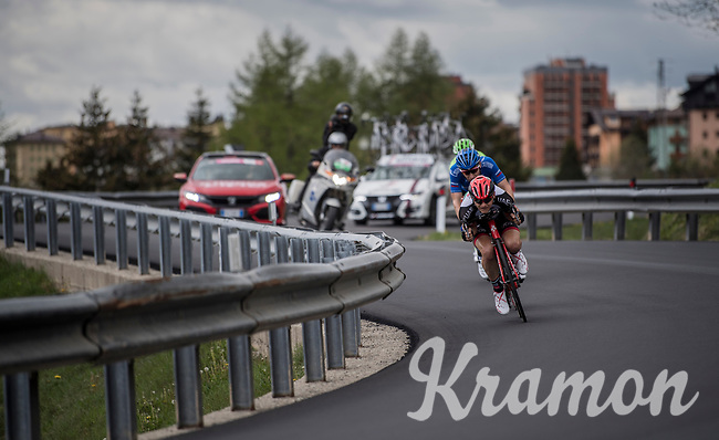 Race leader Matej Mohoric (SVK/UAE-Emirates) tucking in for speed<br /> <br /> Stage 17: Tirano &rsaquo; Canaze (219km)<br /> 100th Giro d'Italia 2017