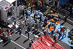 Emergency personnel attend to victims lying in the road outside Hatchobori Subway Station in Tokyo on March 20, 1995. At around 8.00am in the morning members of the Aum Shirikyo Doomsday Cult released poisonous Sarin Gas in five coordinated attacks on trains travelling through Kasumigaseki and Nagatacho stations. This resulted in the death of 13 passengers and staff and over 6,000 injuries and was Japan's deadliest act of domestic terrorism.  (Photo by Yomiuri Newspaper/AFLO)