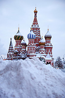 Moscow, Russia, 23/02/2010..Snow piled high on Red Square after record amounts fell over the weekend, the heaviest snowfall in the Russian capital for nearly 50 years.