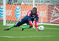21 April 2012: Chicago Fire goalkeeper Sean Johnson #25 in action during the warm-up in a game between the Chicago Fire and Toronto FC at BMO Field in Toronto..The Chicago Fire won 3-2....