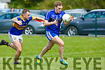 Cordals full back Paudie Walsh give chase to Renards Kevin Curran in the Junior Club Football Championship semi final in Beaufort on Sunday.