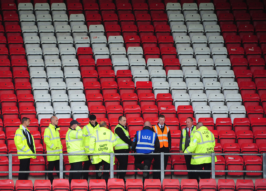 A general view of Sincil Bank, home of Lincoln City, showing stewards holding a briefing<br /> <br /> Photographer Andrew Vaughan/CameraSport<br /> <br /> Vanarama National League - Lincoln City v Barrow - Saturday 17 September 2016 - Sincil Bank - Lincoln<br /> <br /> World Copyright &copy; 2016 CameraSport. All rights reserved. 43 Linden Ave. Countesthorpe. Leicester. England. LE8 5PG - Tel: +44 (0) 116 277 4147 - admin@camerasport.com - www.camerasport.com