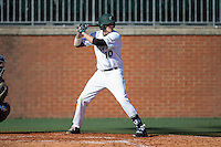 Zach Jarrett (10) of the Charlotte 49ers at bat against the Louisiana Tech Bulldogs at Hayes Stadium on March 28, 2015 in Charlotte, North Carolina.  The 49ers defeated the Bulldogs 9-5 in game two of a double header.  (Brian Westerholt/Four Seam Images)